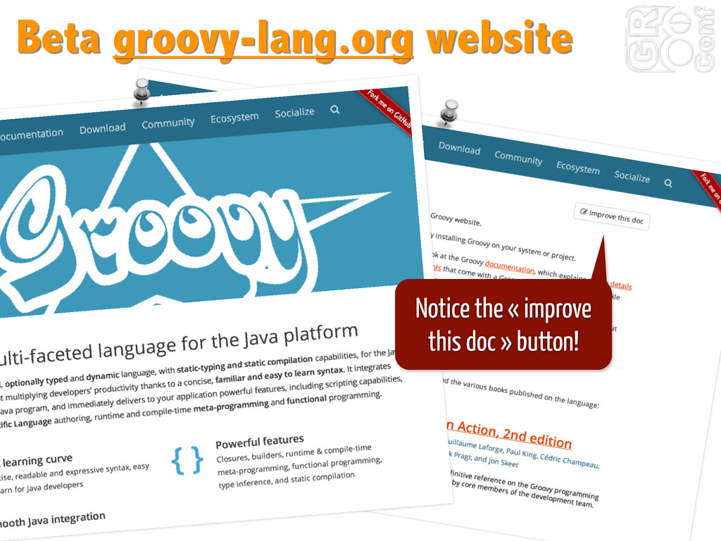 Beta groovy-lang.org website Notice the « impro...