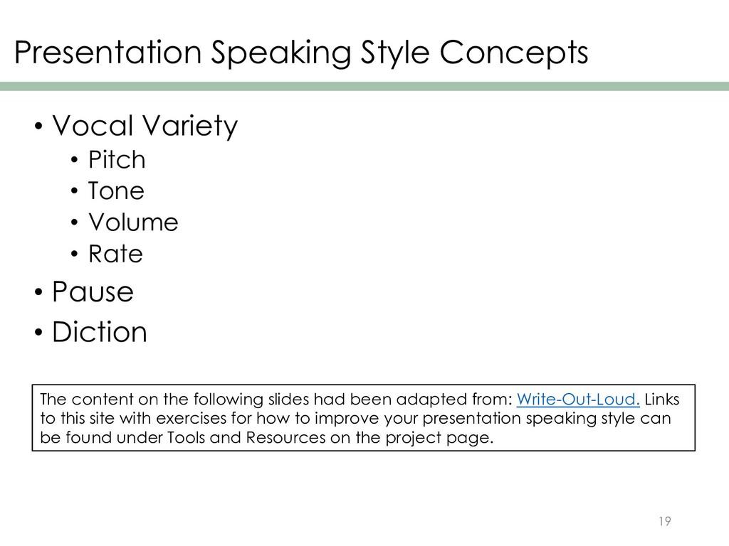 Presentation Speaking Style Concepts • Vocal Va...
