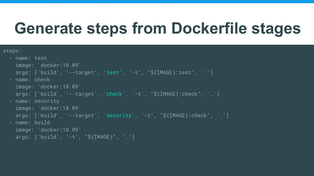 Generate steps from Dockerfile stages steps: - ...