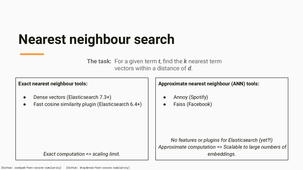 Approximate nearest neighbour (ANN) tools: ● An...