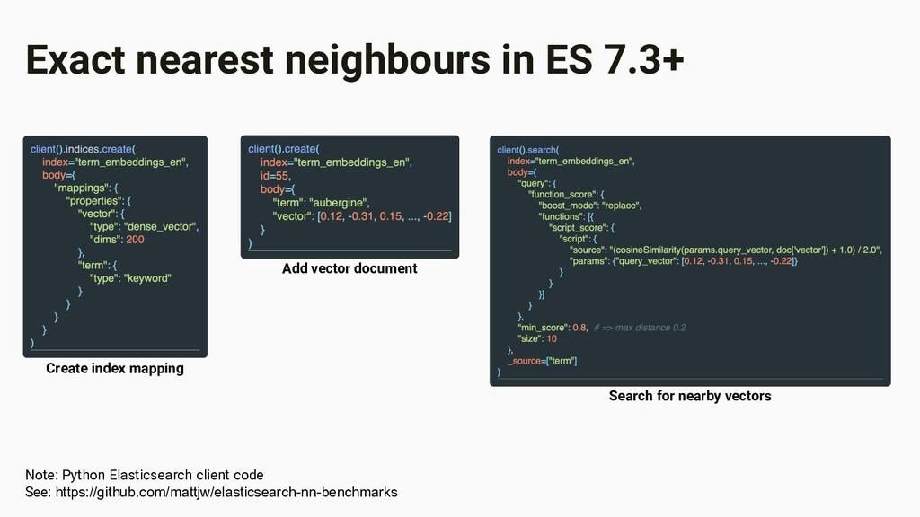 Exact nearest neighbours in ES 7.3+ Create inde...