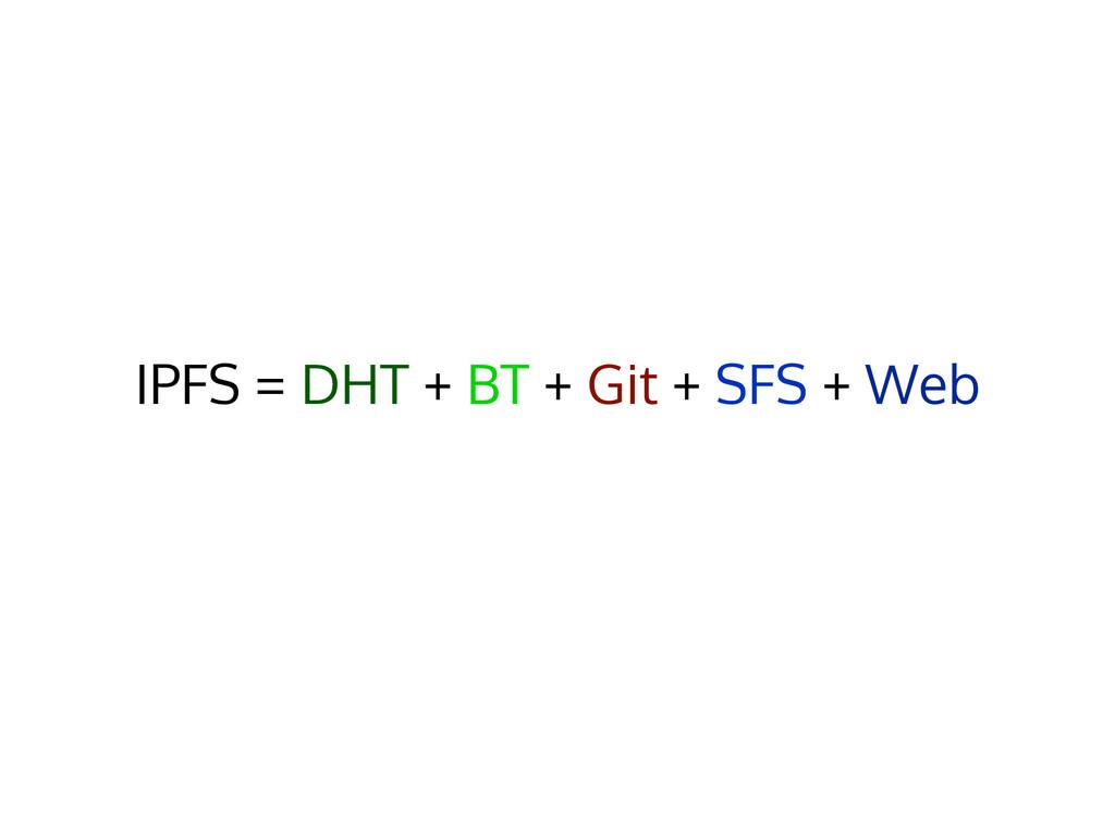 IPFS = DHT + BT + Git + SFS + Web