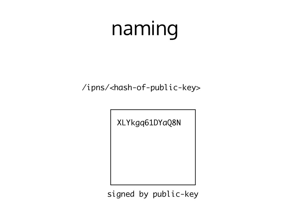 naming /ipns/<hash-of-public-key> signed by pub...