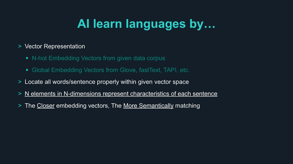 AI learn languages by… > Vector Representation ...