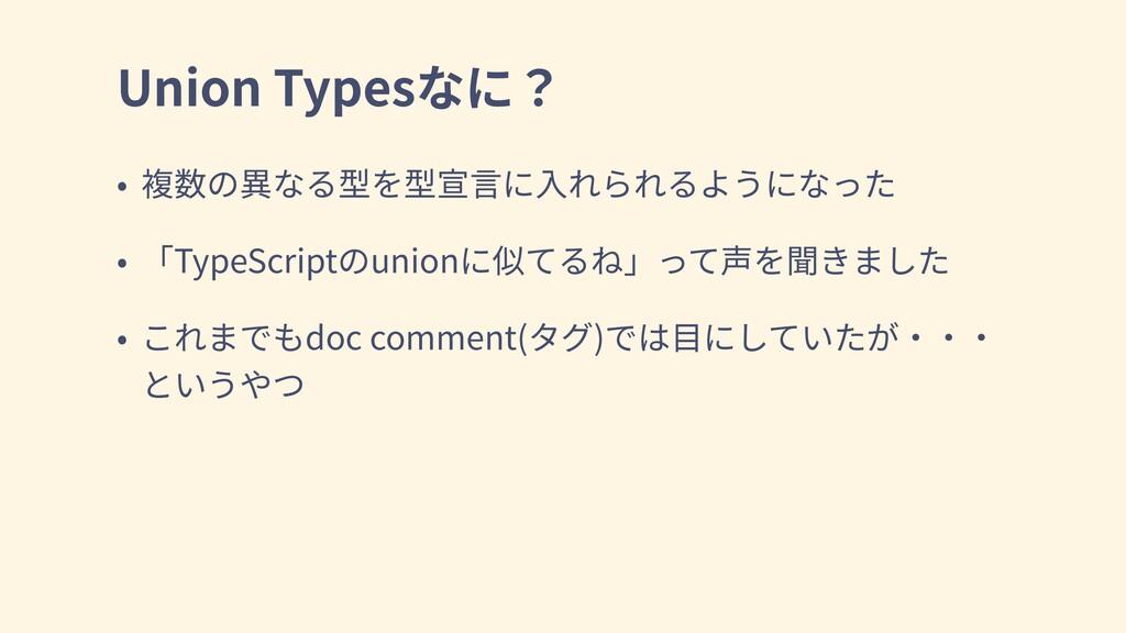 Union Types TypeScript union doc comment( )