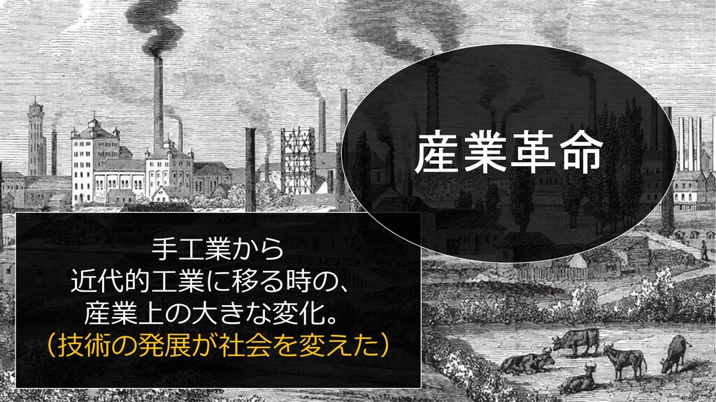 手工業から 近代的工業に移る時の、 産業上の大きな変化。 (技術の発展が社会を変えた)