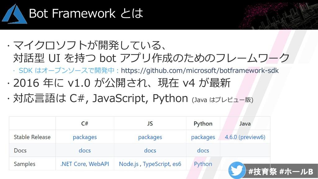 マイクロソフトが開発している、 対話型 UI を持つ bot アプリ作成のためのフレームワ...