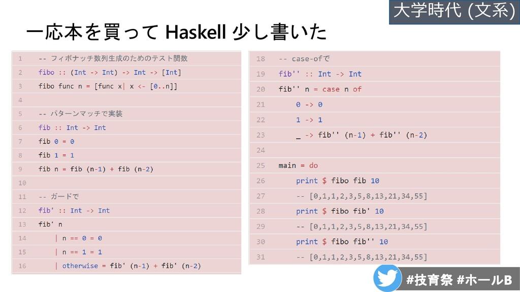 一応本を買って Haskell 少し書いた 大学時代 (文系)