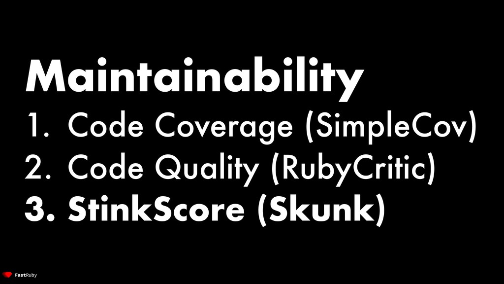 Maintainability 1. Code Coverage (SimpleCov) 2....