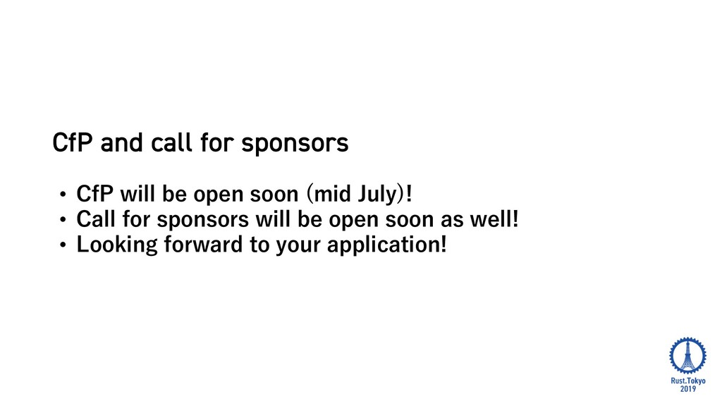 CfP and call for sponsors • ) ! • • ) (