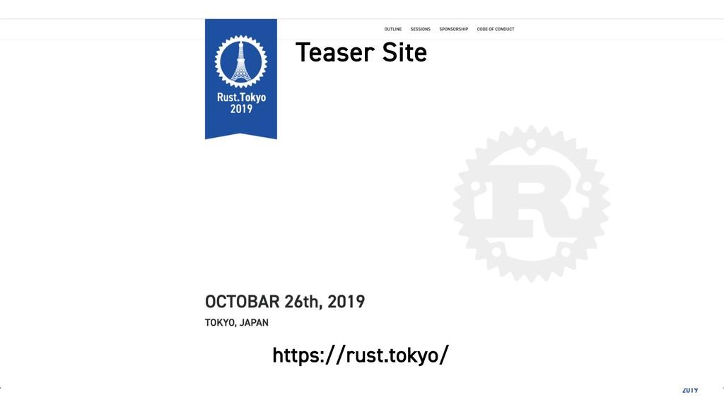 Teaser Site https://rust.tokyo/
