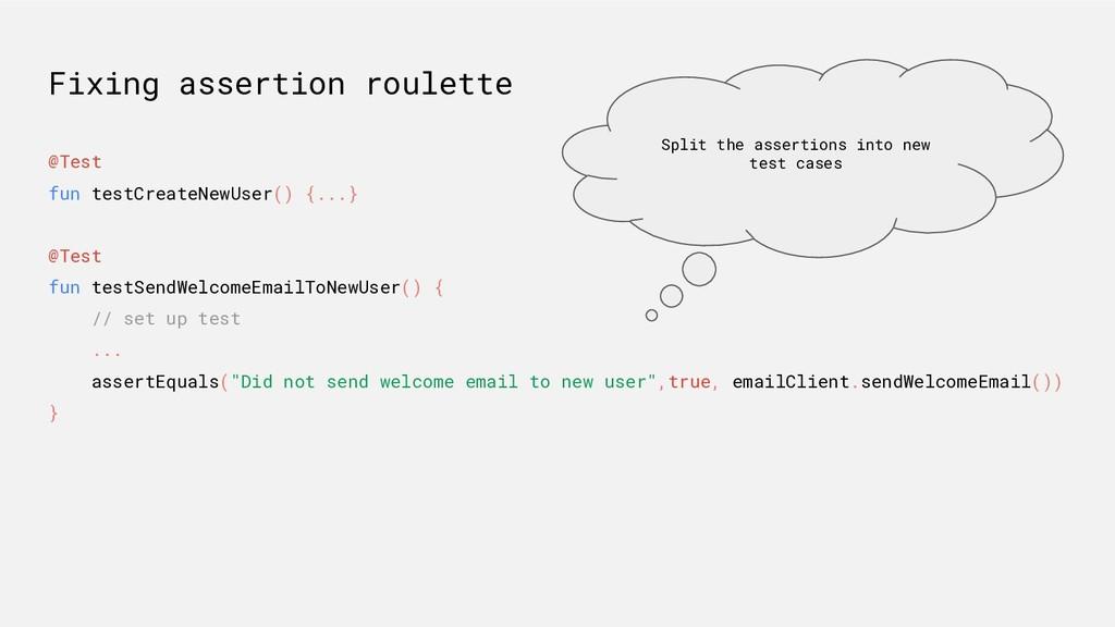 Fixing assertion roulette @Test fun testCreateN...
