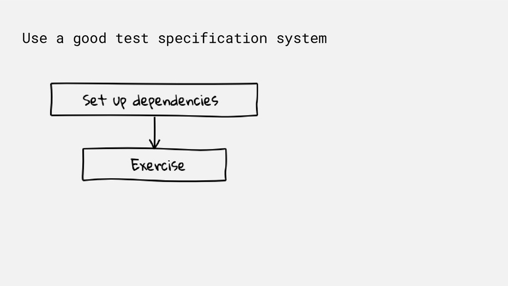 Use a good test specification system