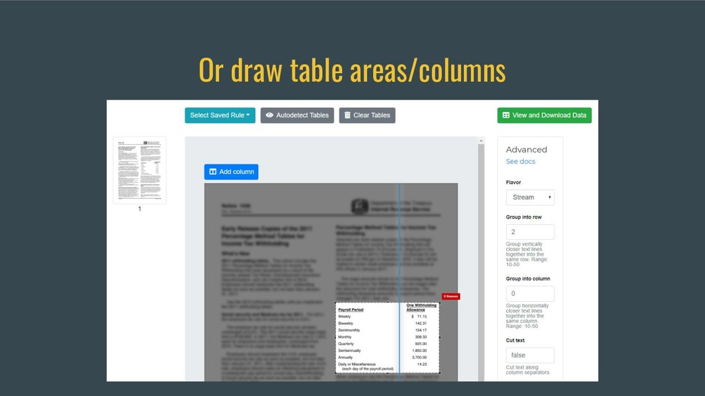 Or draw table areas/columns