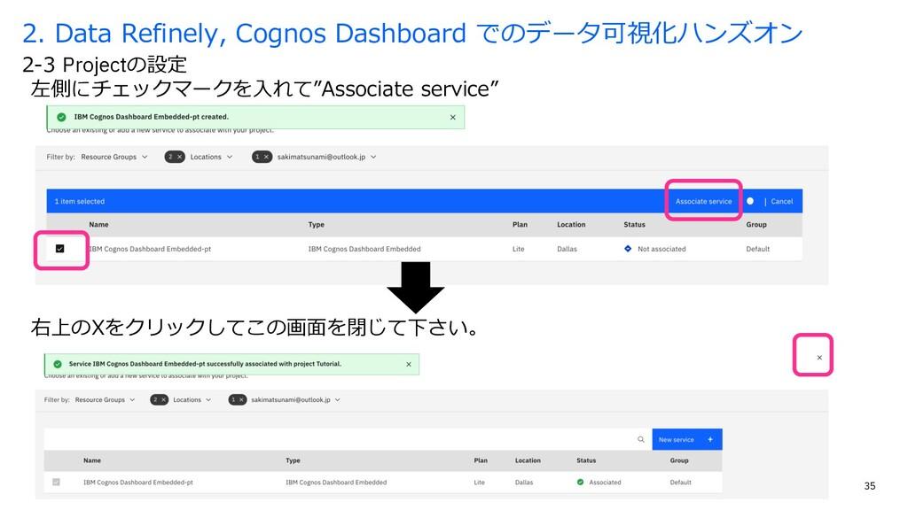 """35 左側にチェックマークを⼊れて""""Associate service"""" 2-3 Projec..."""