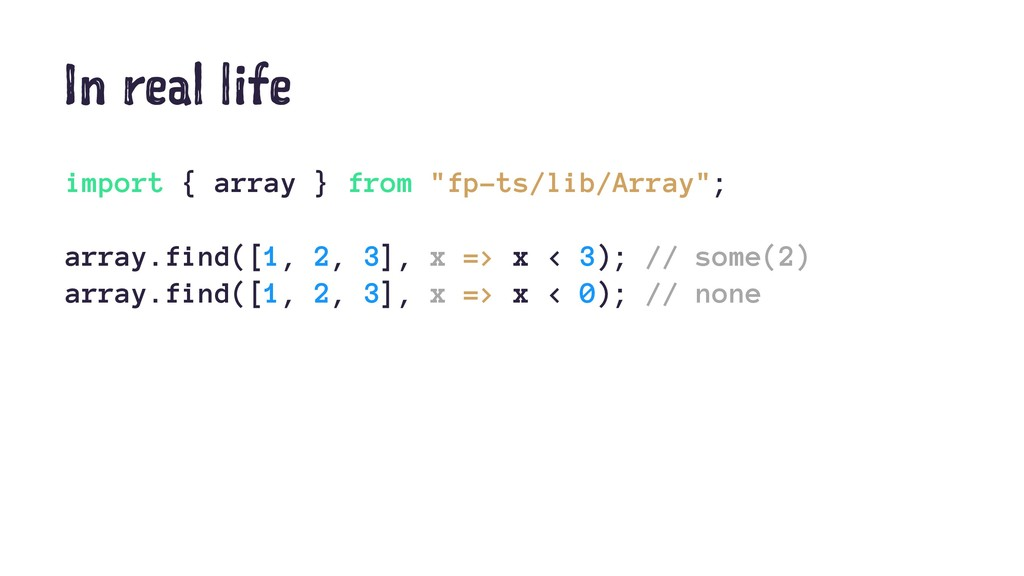 "In real life import { array } from ""fp-ts/lib/A..."