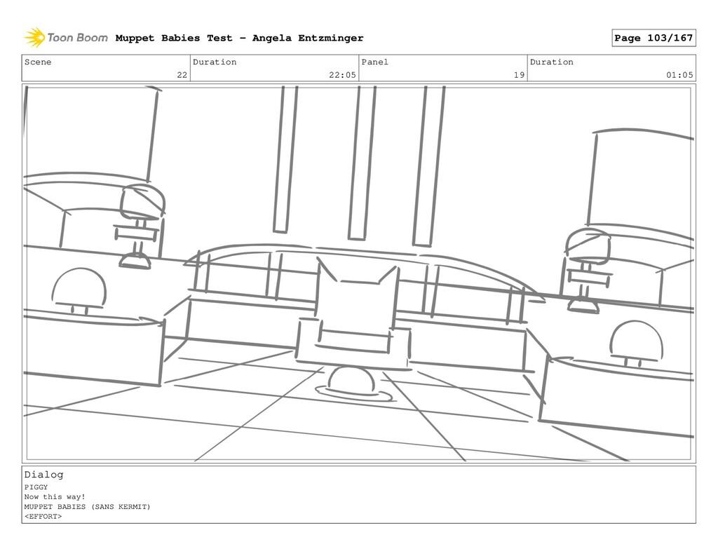 Scene 22 Duration 22:05 Panel 19 Duration 01:05...
