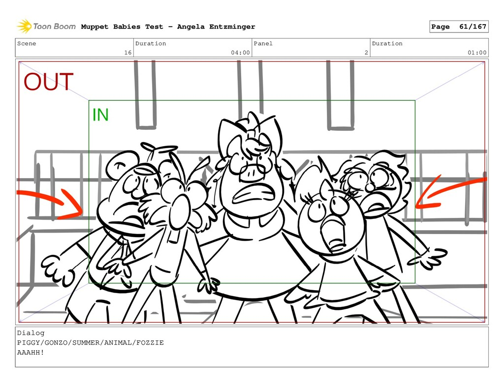 Scene 16 Duration 04:00 Panel 2 Duration 01:00 ...