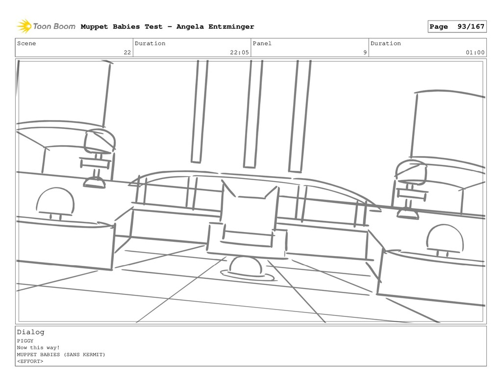 Scene 22 Duration 22:05 Panel 9 Duration 01:00 ...