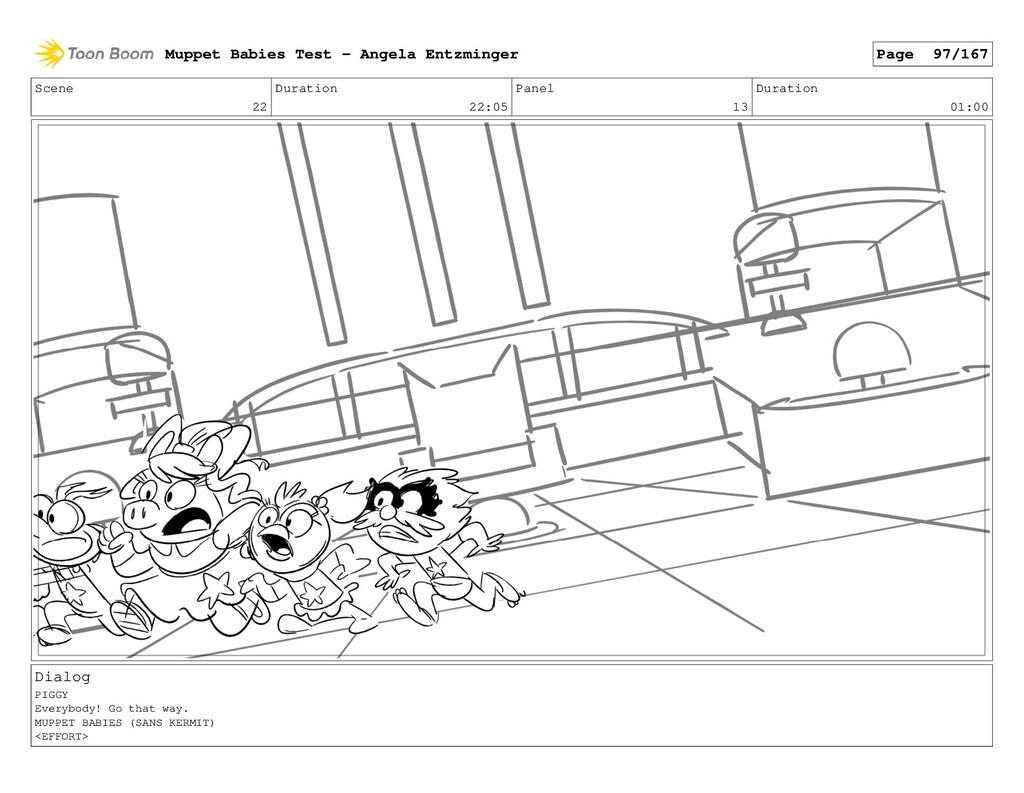Scene 22 Duration 22:05 Panel 13 Duration 01:00...