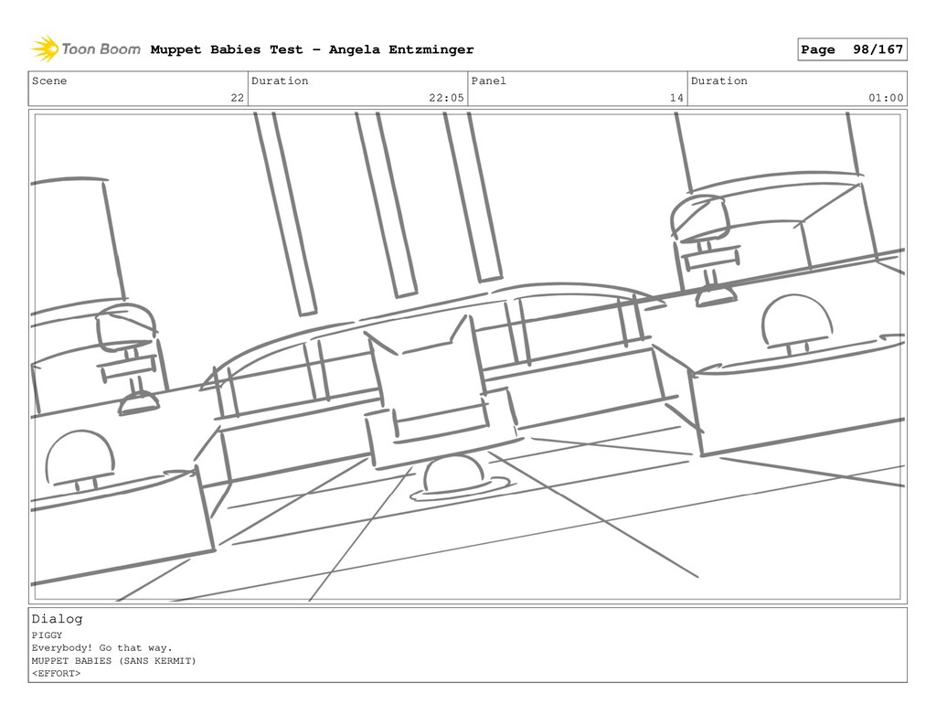 Scene 22 Duration 22:05 Panel 14 Duration 01:00...
