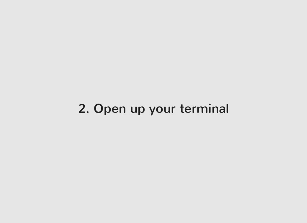 2. Open up your terminal