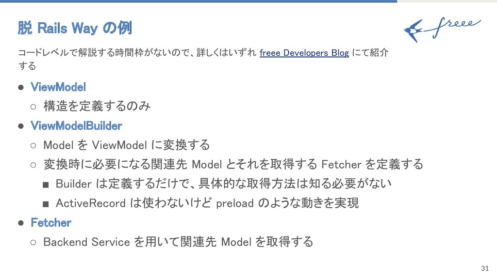 ● ViewModel ○ 構造を定義するのみ ● ViewModelBuilder ○...