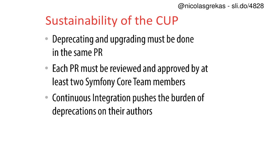 • • • Sustainability of the CUP @nicolasgrekas ...