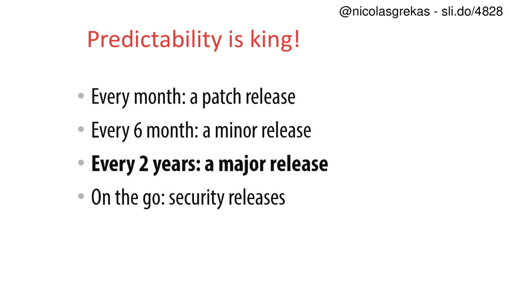 • • • • Predictability is king! @nicolasgrekas ...