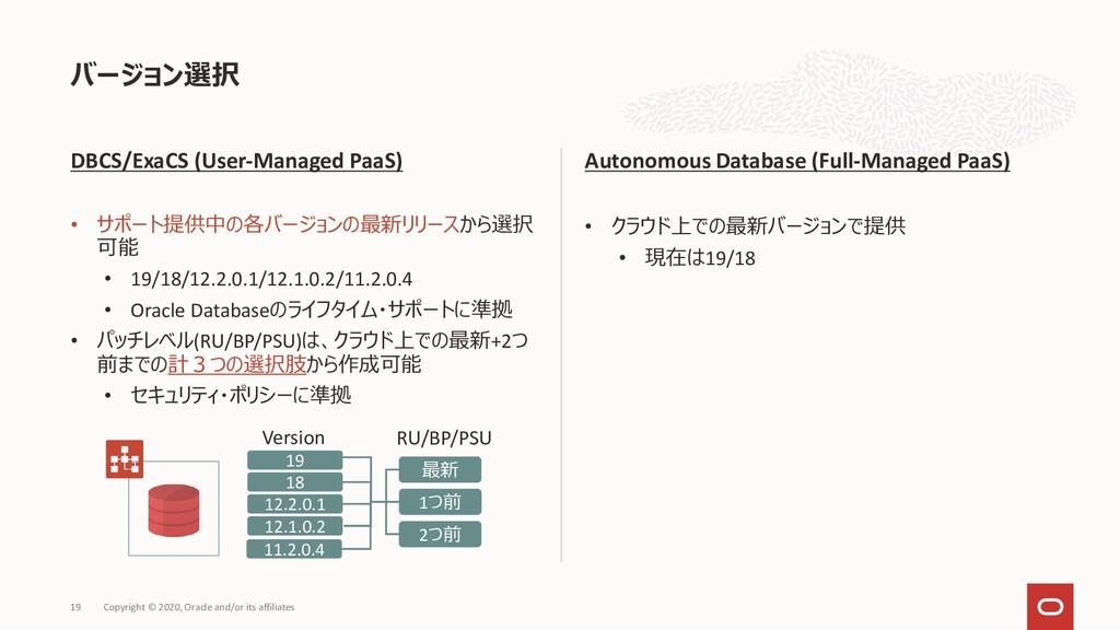 DBCS/ExaCS (User-Managed PaaS) • サポート提供中の各バージョン...