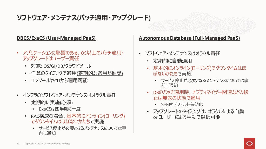 DBCS/ExaCS (User-Managed PaaS) • アプリケーションに影響のある...