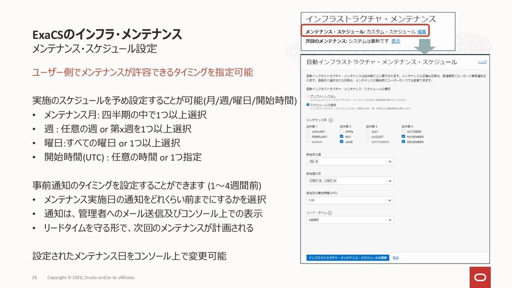メンテナンス・スケジュール設定 ユーザー側でメンテナンスが許容できるタイミングを指定可能 実施...