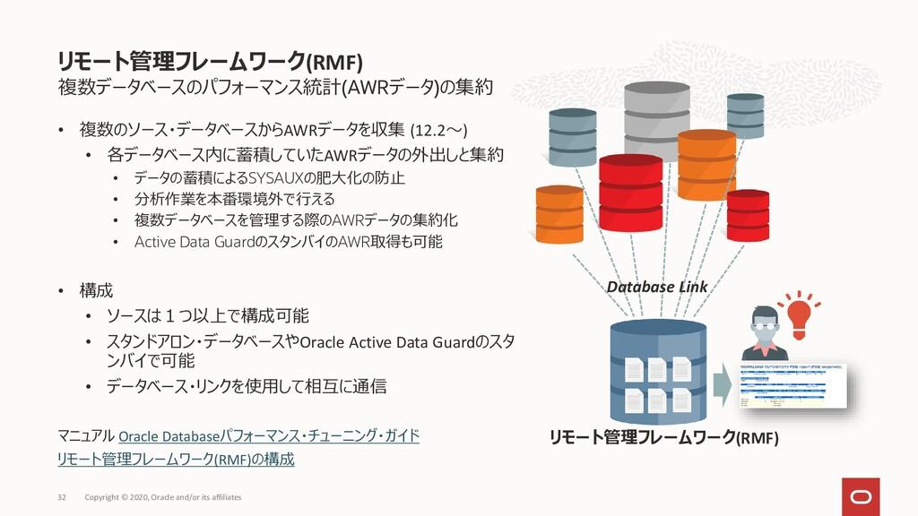 複数データベースのパフォーマンス統計(AWRデータ)の集約 • 複数のソース・データベースから...