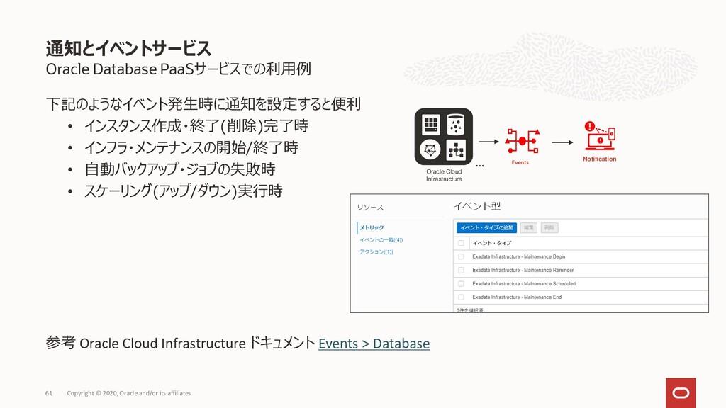 Oracle Database PaaSサービスでの利用例 下記のようなイベント発生時に通知を...