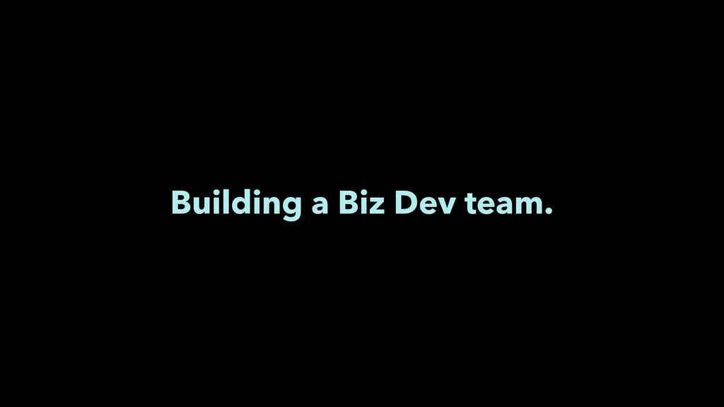 Building a Biz Dev team.