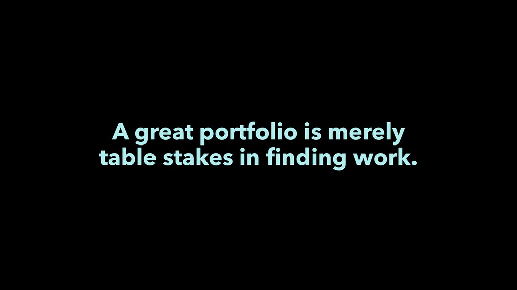 A great portfolio is merely table stakes in find...