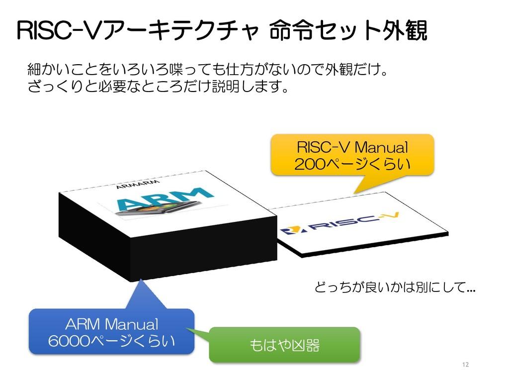 RISC-Vアーキテクチャ 命令セット外観 12 ARM Manual 6000ページくらい ...