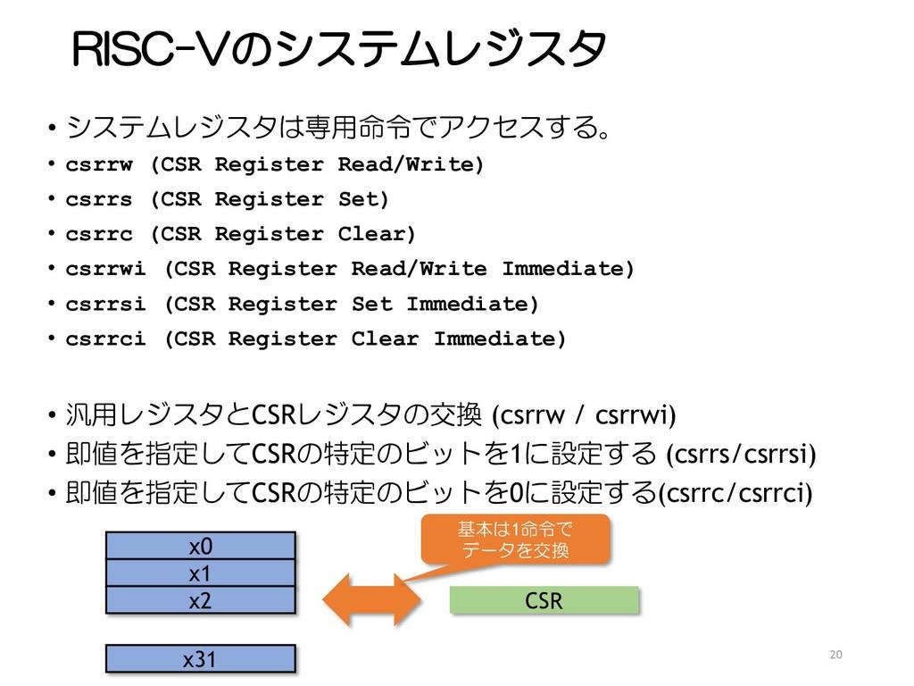 RISC-Vのシステムレジスタ • システムレジスタは専用命令でアクセスする。 • csrrw...