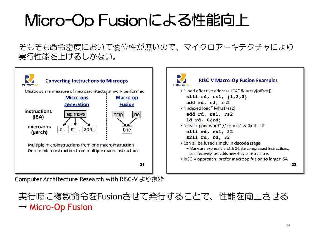 Micro-Op Fusionによる性能向上 24 そもそも命令密度において優位性が無いので、...
