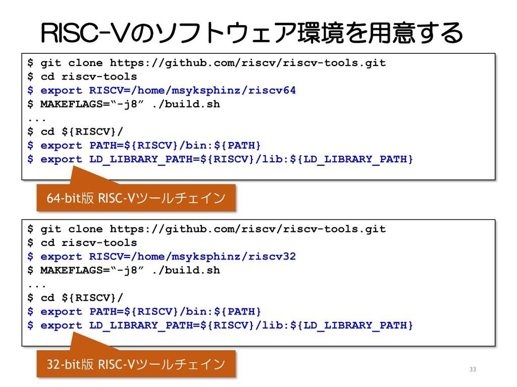 RISC-Vのソフトウェア環境を用意する 33 $ git clone https://git...
