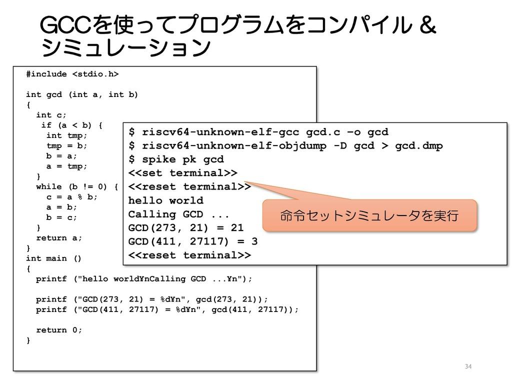 GCCを使ってプログラムをコンパイル & シミュレーション 34 #include <stdi...