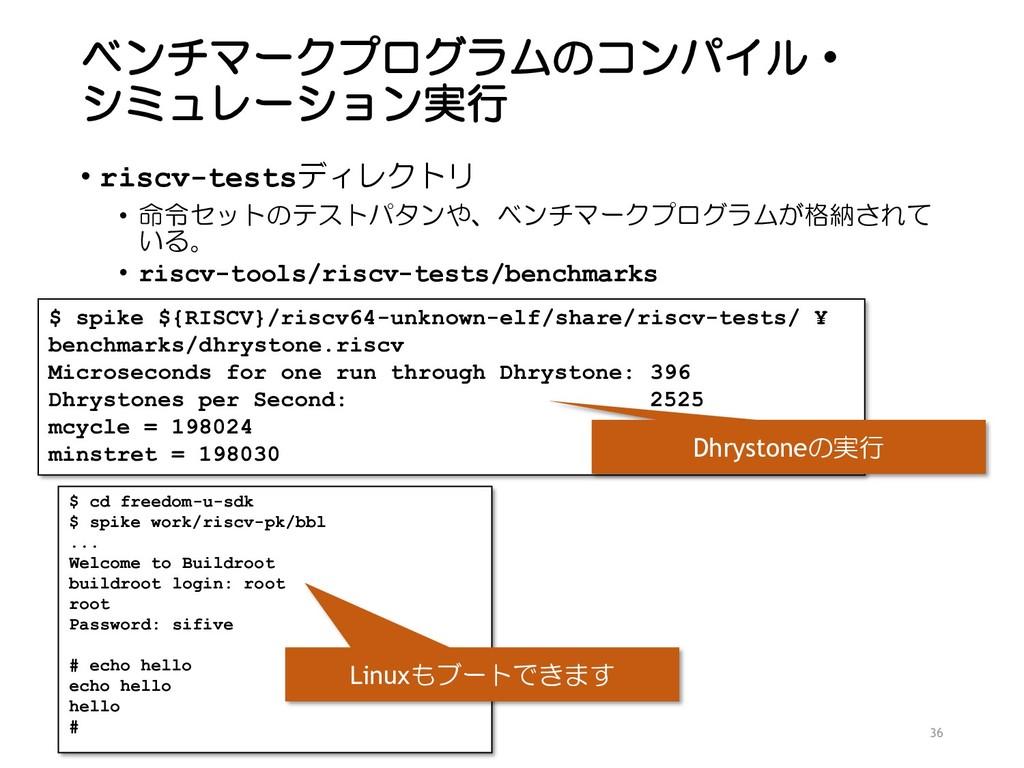 ベンチマークプログラムのコンパイル・ シミュレーション実行 • riscv-testsディレク...