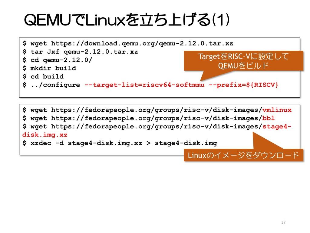 QEMUでLinuxを立ち上げる(1) 37 $ wget https://download....