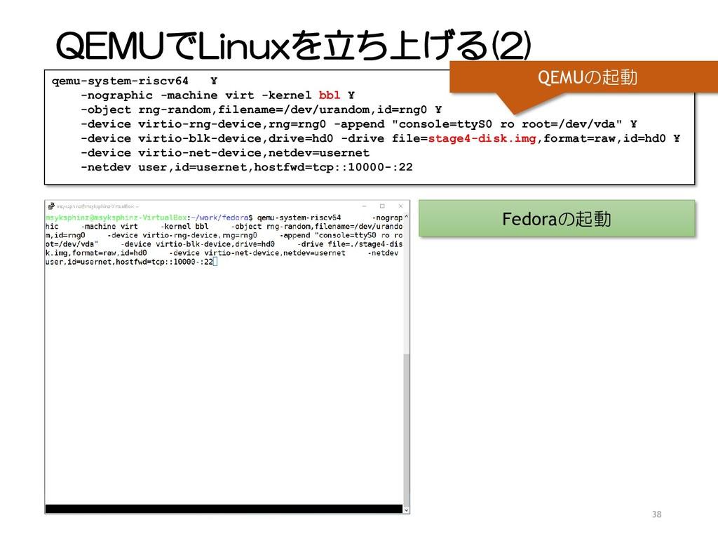 QEMUでLinuxを立ち上げる(2) 38 qemu-system-riscv64 ¥ -n...