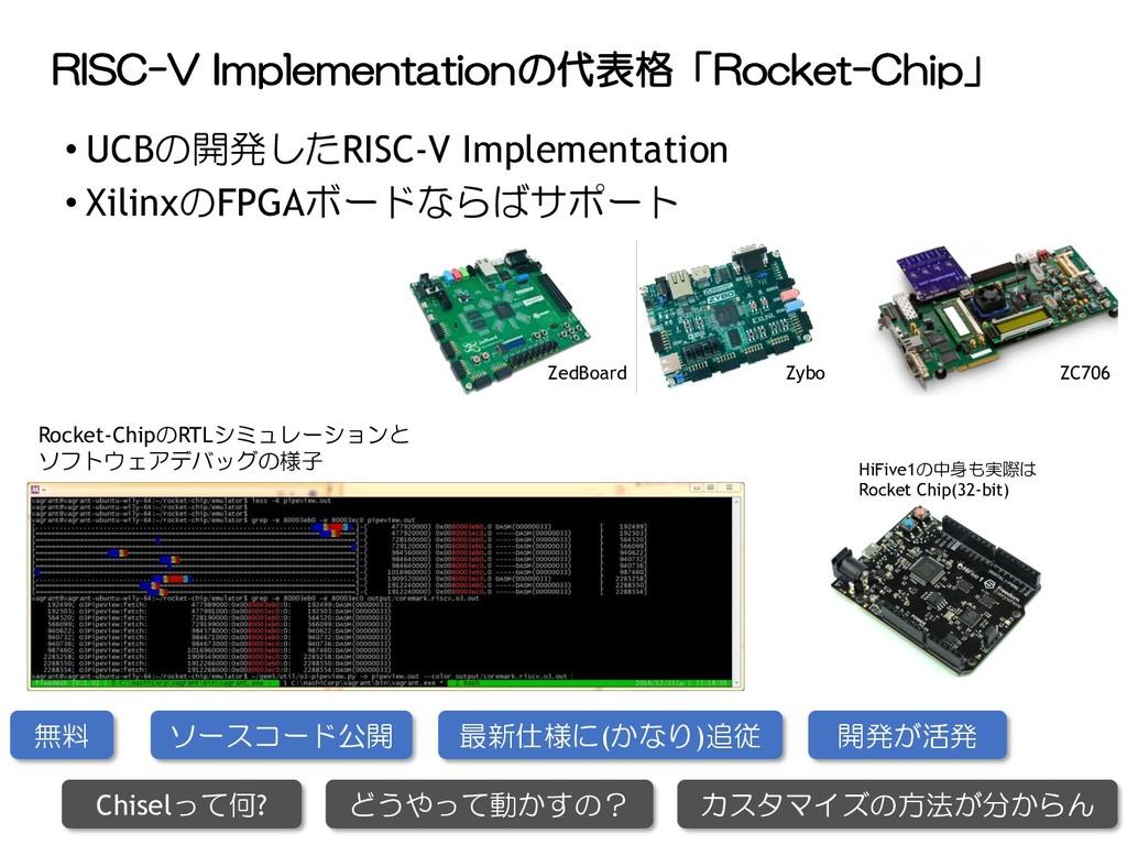 RISC-V Implementationの代表格「Rocket-Chip」 • UCBの開発...