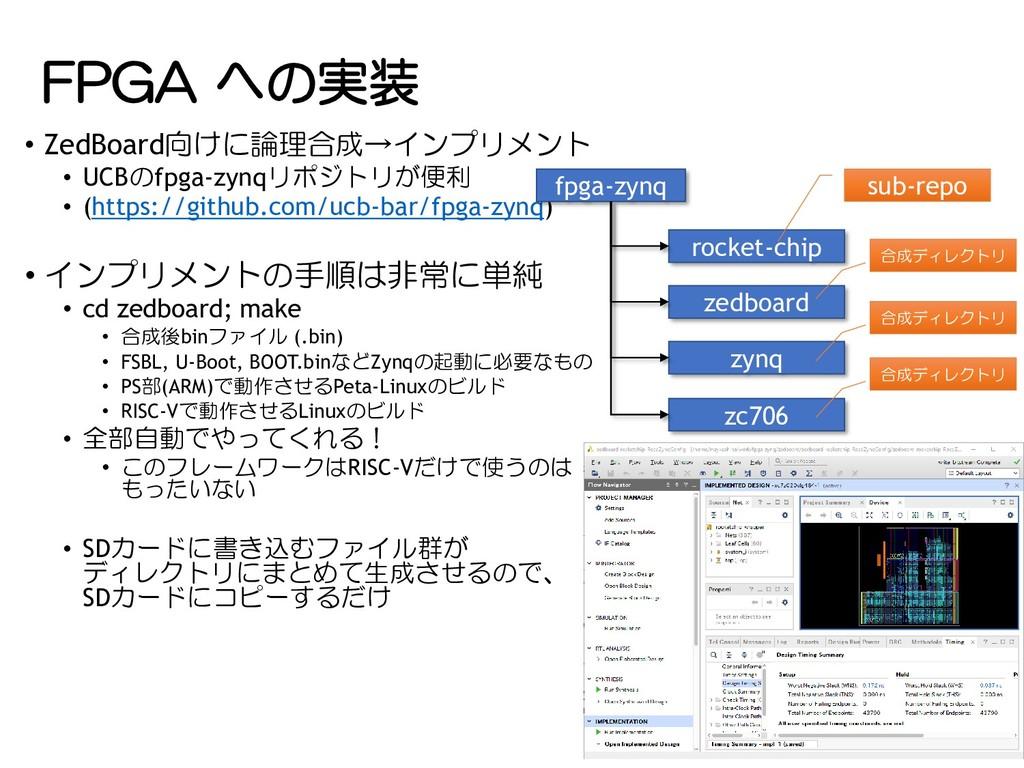 FPGA への実装 • ZedBoard向けに論理合成→インプリメント • UCBのfpga-...