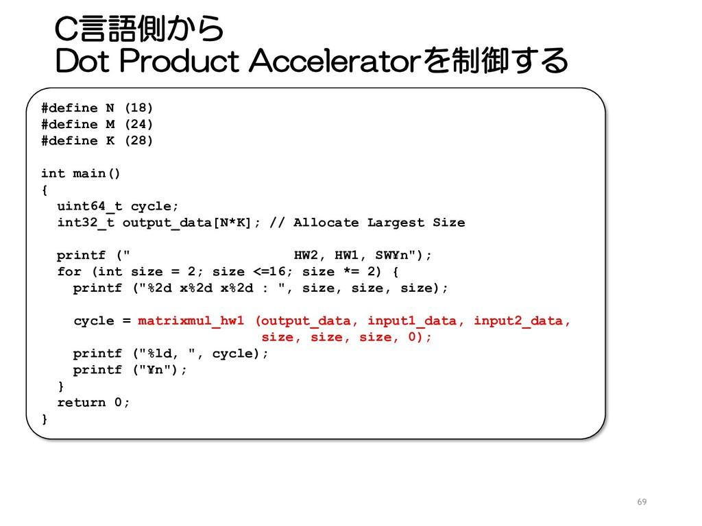 C言語側から Dot Product Acceleratorを制御する 69 #define ...