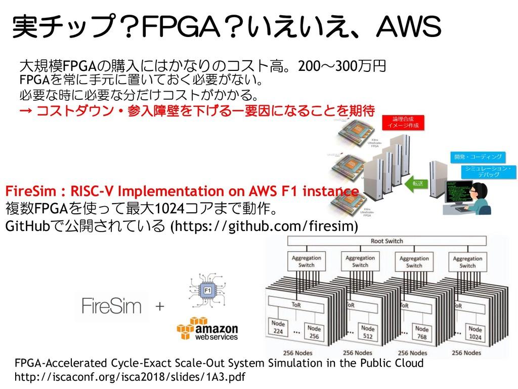 実チップ?FPGA?いえいえ、AWS FireSim : RISC-V Implementat...