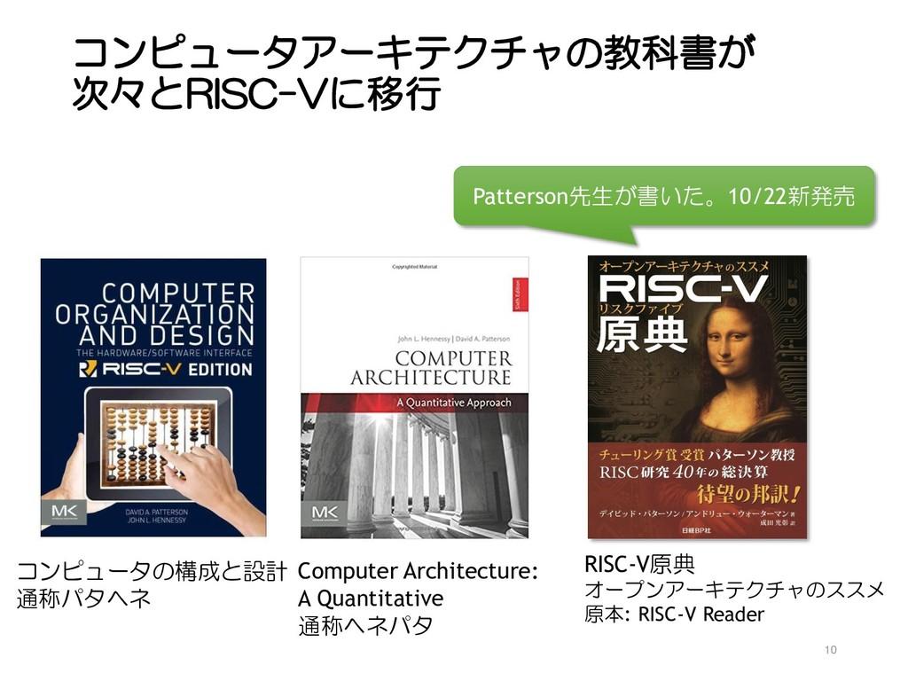 コンピュータアーキテクチャの教科書が 次々とRISC-Vに移行 10 コンピュータの構成と設計...