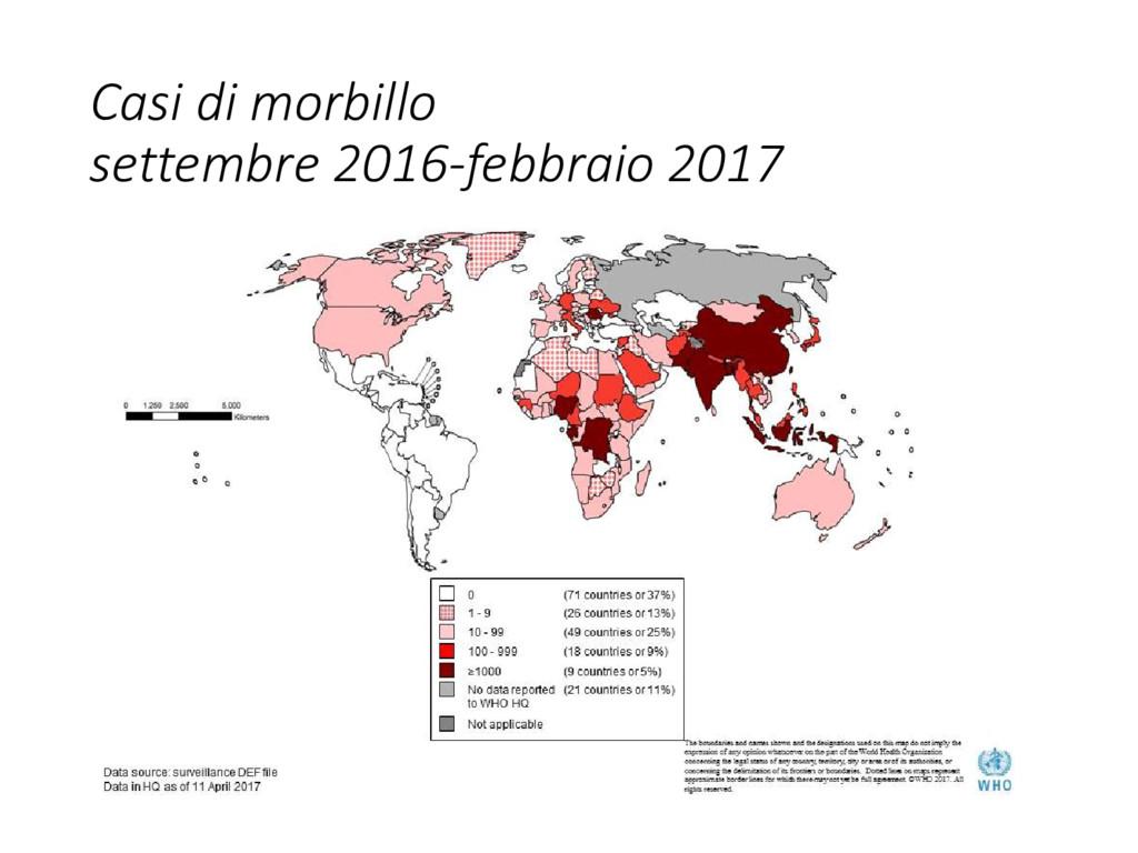 Casi di morbillo settembre 2016-febbraio 2017